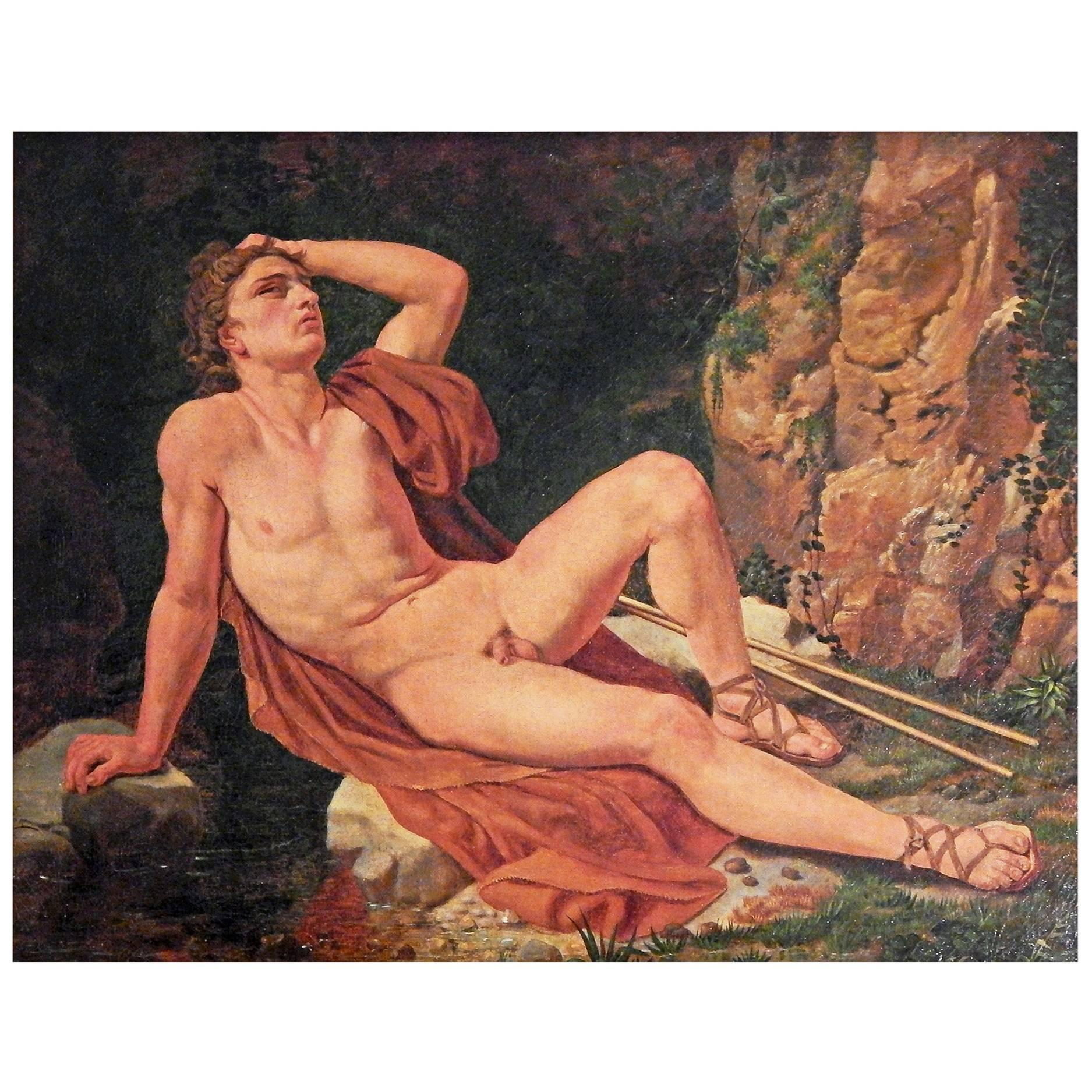 """""""Narcissus,"""" Superb Male Nude, Neoclassical Painting, by Student of Eckersberg"""