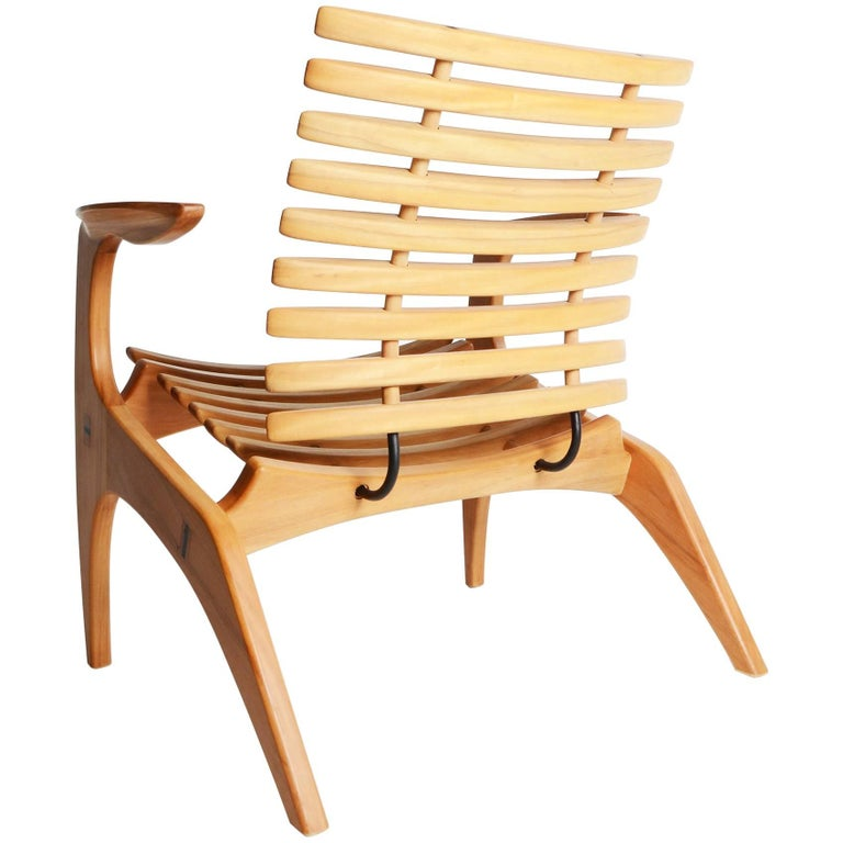 "Contemporary ""Ella"" Chair in Wood by Brazilian Designer Henrique Canelas For Sale"