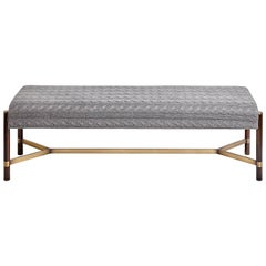 """Raj"" Bench in Imbuia Wood and Brass Details, Contemporary Design"