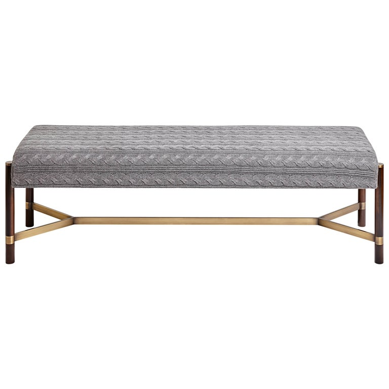 """""""Raj"""" Bench in Imbuia Wood and Brass Details, Contemporary Design"""