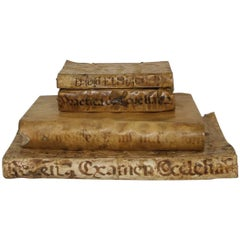 Great Collection of Four Spanish 17th-18th Century Weathered Vellum Books