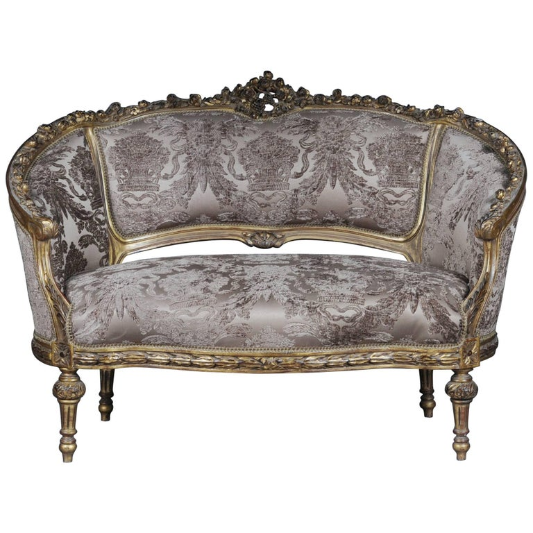 decorative french sofa canap in louis xvi seize for sale. Black Bedroom Furniture Sets. Home Design Ideas