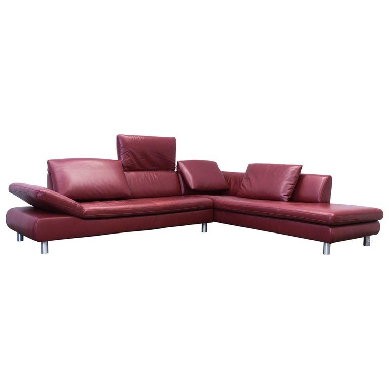 koinor volare leather corner sofa red function couch modern for sale at 1stdibs. Black Bedroom Furniture Sets. Home Design Ideas