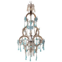 Aqua Blue Opaline Flowers and Drops Murano Glass Chandelier, circa 1930
