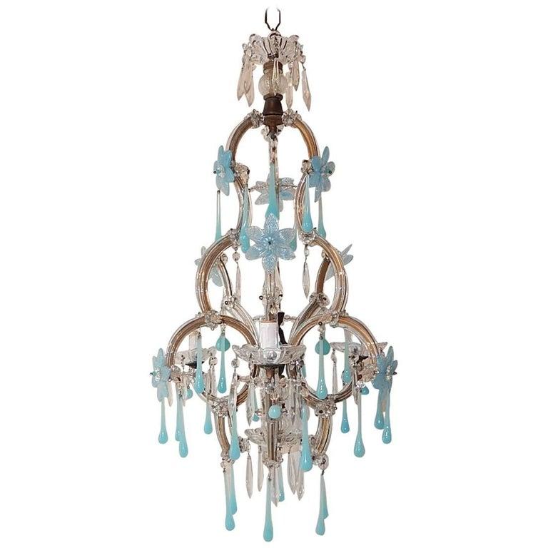 Aqua blue opaline flowers and drops murano glass chandelier circa aqua blue opaline flowers and drops murano glass chandelier circa 1930 for sale mozeypictures Gallery