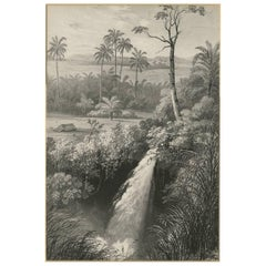 Antique Print of a waterfall near Tondano (Indonesia) by C.W.M. van de Velde