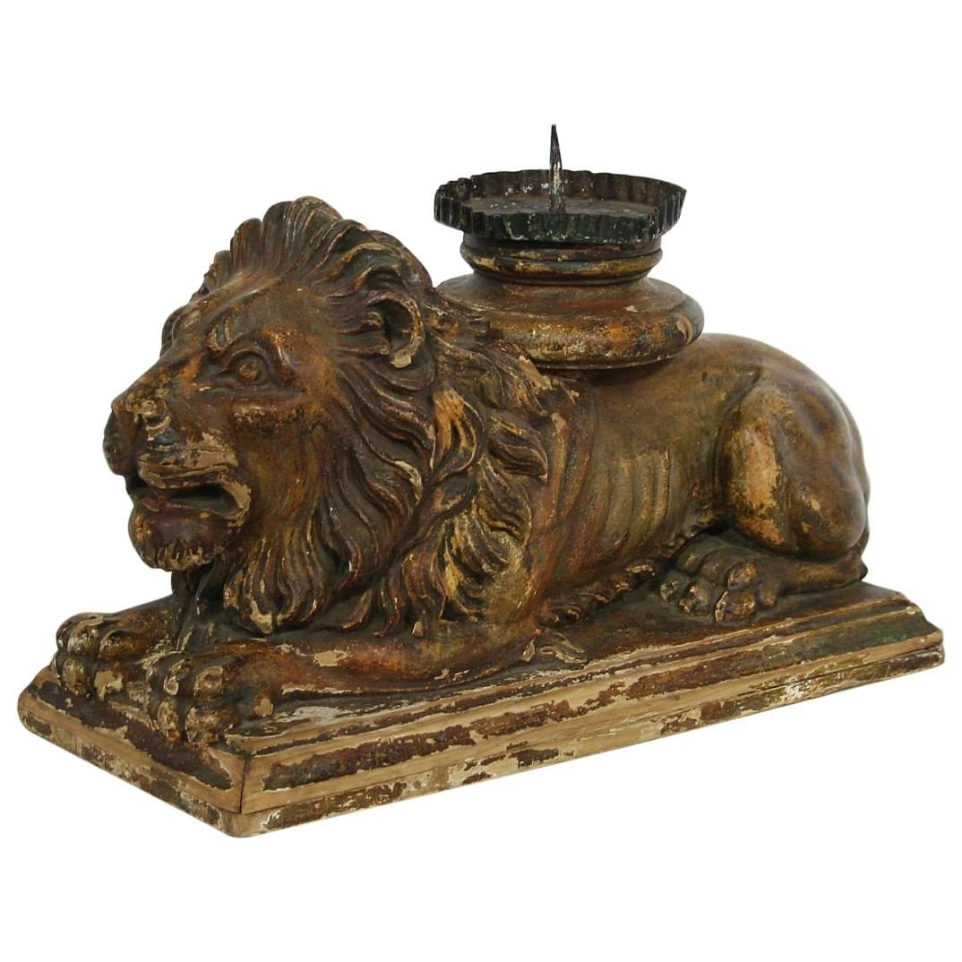 Italian 18th Century Baroque Carved Wooden Lion With Candle Holder. Highly  Decorative Carved Wooden Table Legs ...
