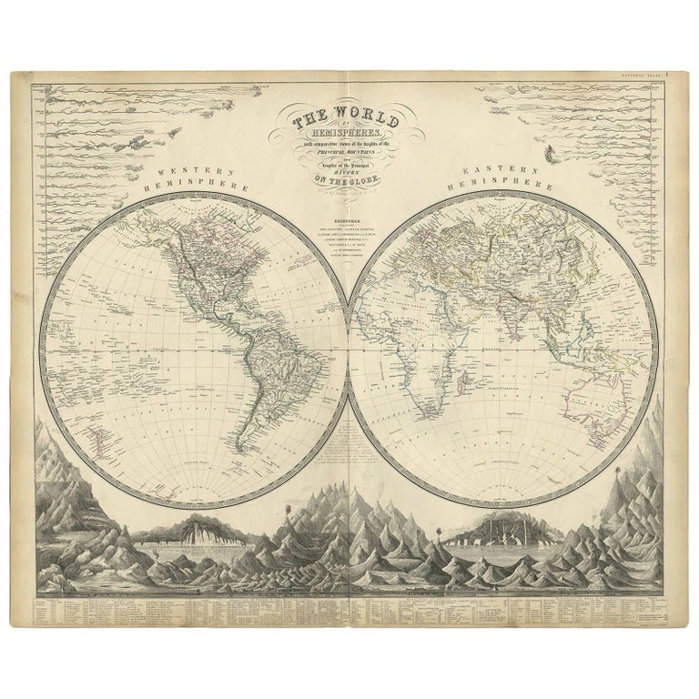 Antique World Map By AK Johnston For Sale At Stdibs - Cheap world maps for sale