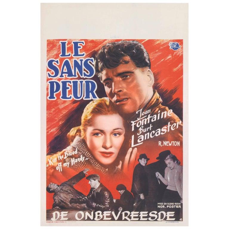 """""""Kiss the Blood Off My Hands / Le Sans Peur"""" Original Belgium Movie Poster"""