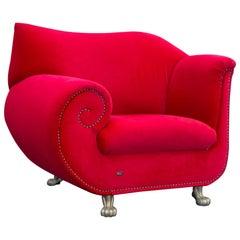 Bretz Gaudi Armchair Fabric Red Mohair Lionfeet Modern