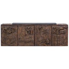1960s Brown Bronze Resin Wall-Mounted Sideboard by Paul Evans