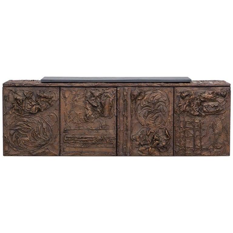 1960s Braun Bronze Harz Wand-Sideboard by Paul Evans 1
