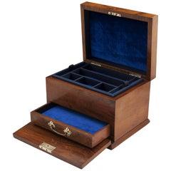 Antique Walnut Jewelry Box with Brass Handle, 1900