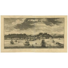 Antique Print of the City of Malacca 'Malaysia' by F. Valentijn, circa 1730