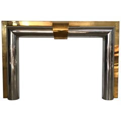 1970s American Polished Brass and Steel Fireplace Mantel