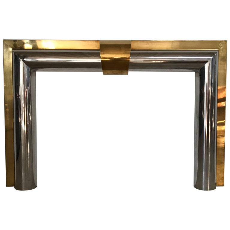 1970s American Polished Brass and Steel Fireplace Mantel For Sale
