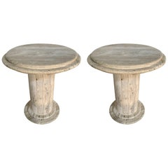 Pair of Post-Modern Italian Travertine TOTEM Side/End Tables