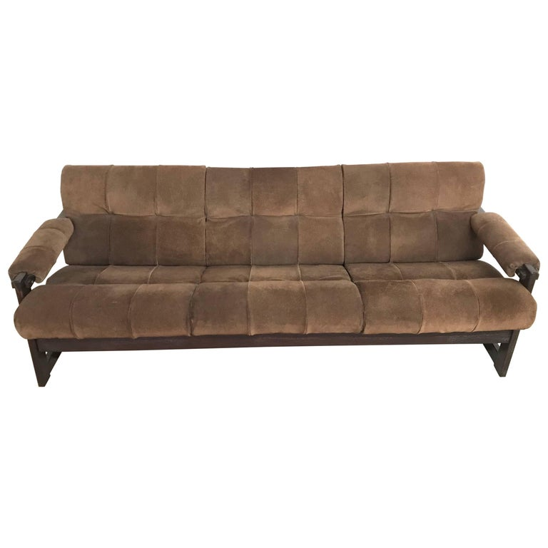 Perceval Lafer Brazilian Rosewood and Suede Sofa