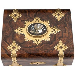 Betjemann Feathered Walnut and Brass Games Box