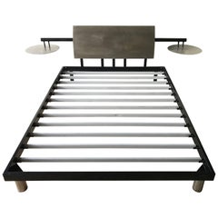 Post-Modern Steel Queen Bed with Integrated Floating Nightstands