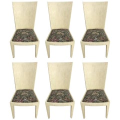 Set of Six Jimeco Tessellated Camel Bone Inlaid Dining Chairs