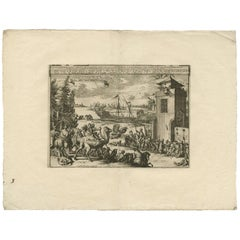 Antique Print of Turkish Slavery and Jail by P. van der Aa, circa 1725