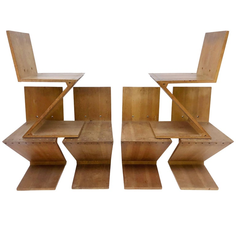 Set of Six Rietveld Zig Zag Chairs Executed by Gerard van de Groenekan