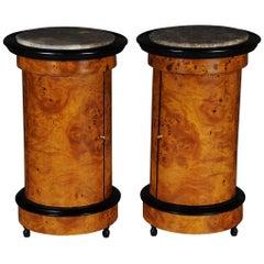 Tonneau, Bar Cabinet, Side Table in Biedermeier Maple Root