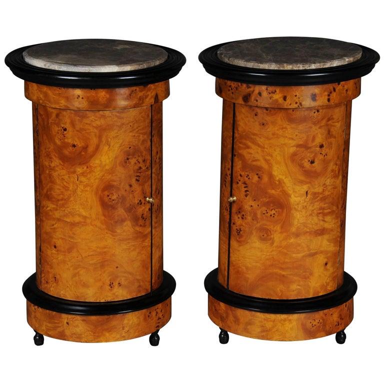 Tonneau, Bar Cabinet, Side Table in Biedermeier Maple Root For Sale