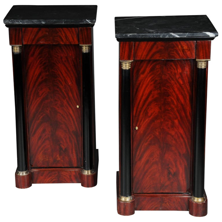 Classic Bedside Table, Side Table in Biedermeier, Mahogany L For Sale