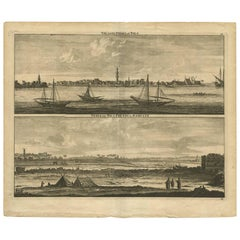 Antique Print with Panoramic Views of the Nile 'Egypt' by C. De Bruijn '1700'