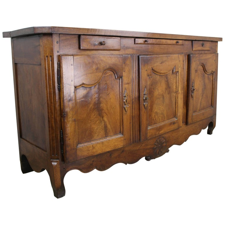 Thick Top Antique French Walnut Enfilade For Sale