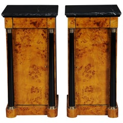 Classic Bedside Table, Side Table in Biedermeier Style, Maple Root L
