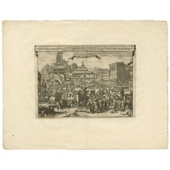 Antique Print of Trade and Merchandise at Bantam, Indonesia by P. Van Der Aa