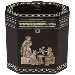 18th Century Papier Mâché Octagonal Tea Caddy by Henry Clay