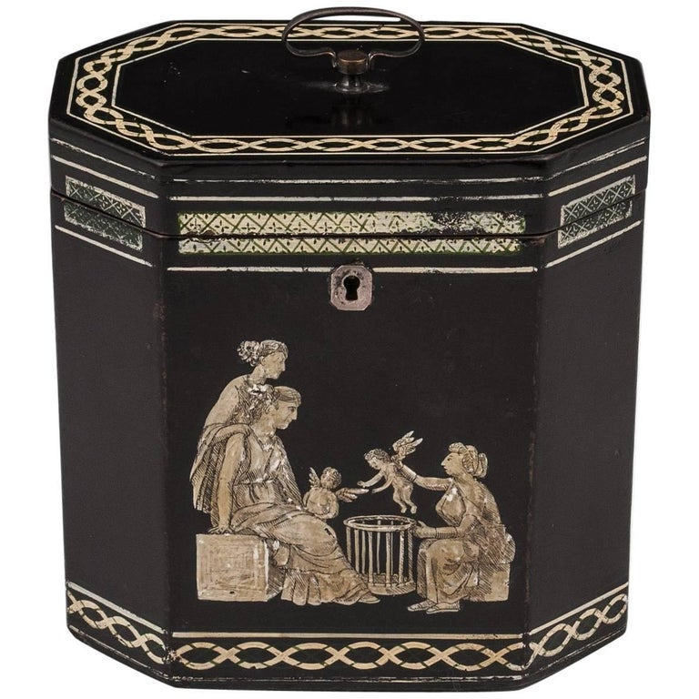 18th Century Papier Mâché Octagonal Tea Caddy by Henry Clay For Sale