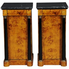 Classic Bedside Table, Side Table in Biedermeier Style, Maple Root R