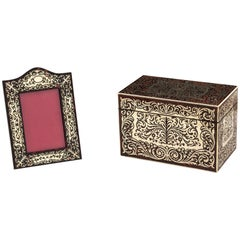 Red Tortoiseshell Boulle Stationery Box & Picture Frame by Hallstaff & Hannaford