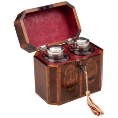 Antique Tea Caddy Chest with Silver and Glass Tea Caddies