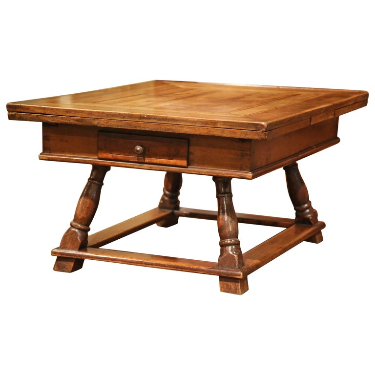 18th Century French Walnut Coffee Table With Drawers And Pull Out Leaves For Sale At 1stdibs