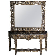 Luxurious Mirror Console, Sideboard, Table with Mirror, Louis XVI