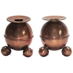 Pair of Bauhaus Era Ball Candlestick, Naum Slutzky Attributed