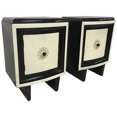Pair of 20th Century Art Deco Bedside Tables in Parchment