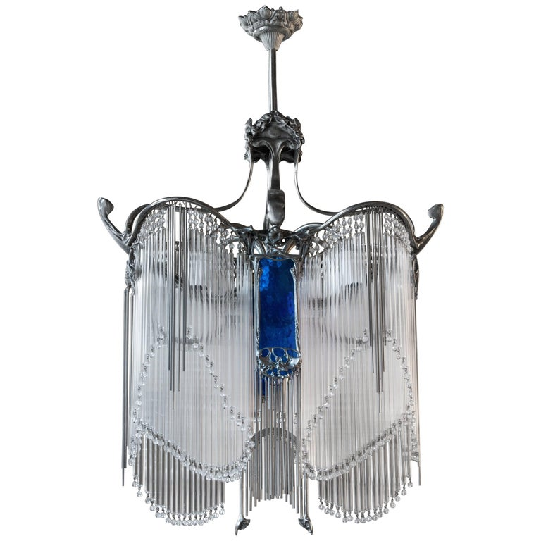 Art nouveau hector guimard chandelier with nickel finish for sale at art nouveau guimard chandelier aloadofball Image collections