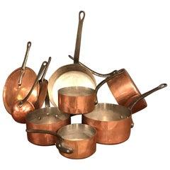 Antique Copper Pans Set of Nine