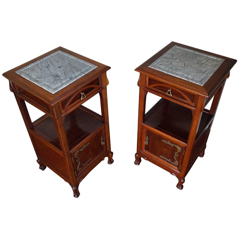 Rare Art Nouveau Mahogany Bedside Cabinets / Nightstands Louis Majorelle Style