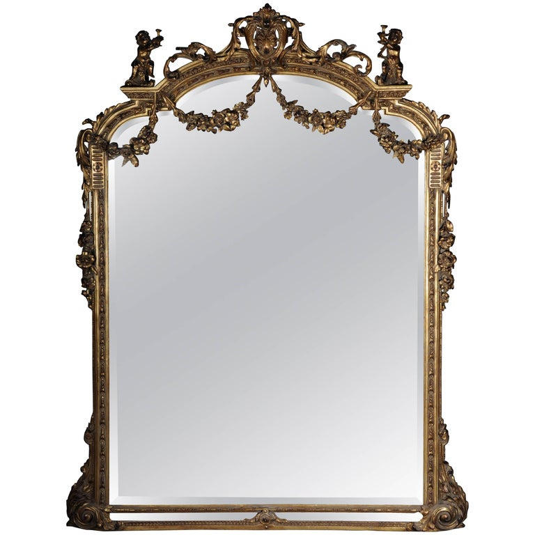 Large Full Length Standing Mirror In Louis Xvi
