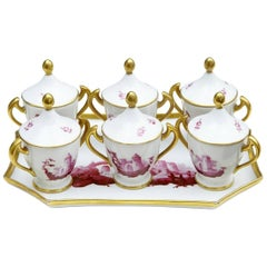 20th Century French Porcelain Seven-Piece Dessert Set