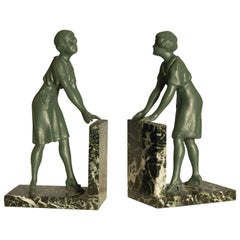 Pair of Art Deco Green Patinated Metal on Marble Bookends