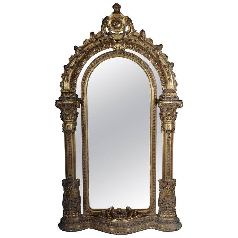 20th Century Gigantic Full-Length Mirror in Louis XVI, Solid beechwood For Sale